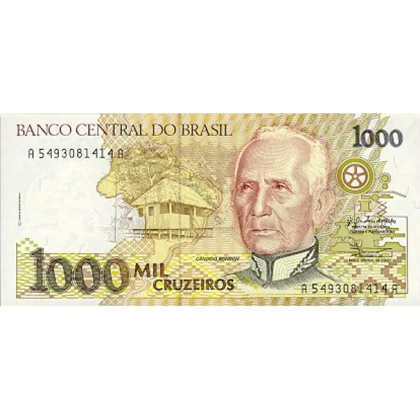 1991 - Brasil P231c billete de 1.000 Cruceiros