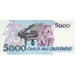 1993 - Brasil P232c billete de 5.000 Cruceiros