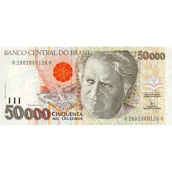 1992 - Brasil P234 billete de 50.000 Cruceiros