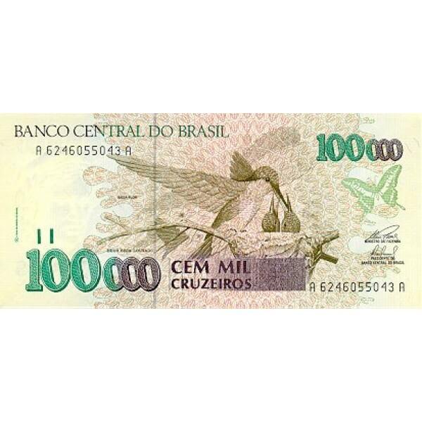 1993 - Brazil P235b 100,000 Cruceiros banknote
