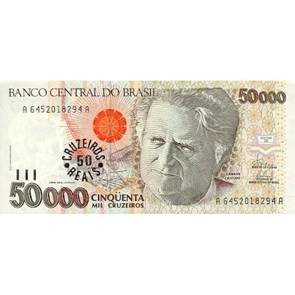 1993 -  Brasil P237 billete 50 cruceiros reais en 50000 cruceiros
