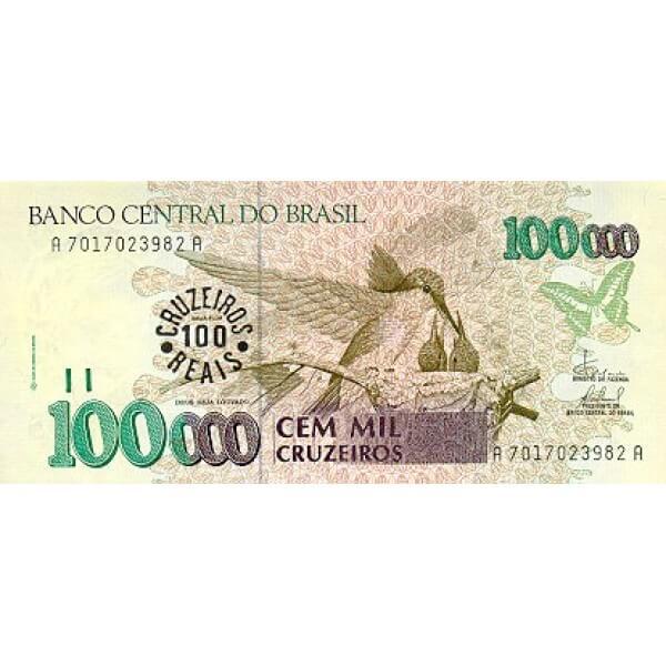 1993 - Brasil P238 billete 100 cruceiros reais en 100.000 cruceiros