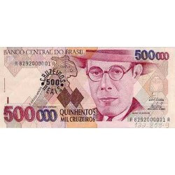 1993 - Brazil P239a 500 cruceiros reais on 500000 cruceiros banknote