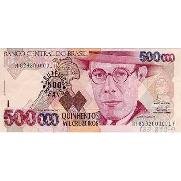 1993 - Brasil P239a billete de 500 cruceiros reais en 500000 cruceiros