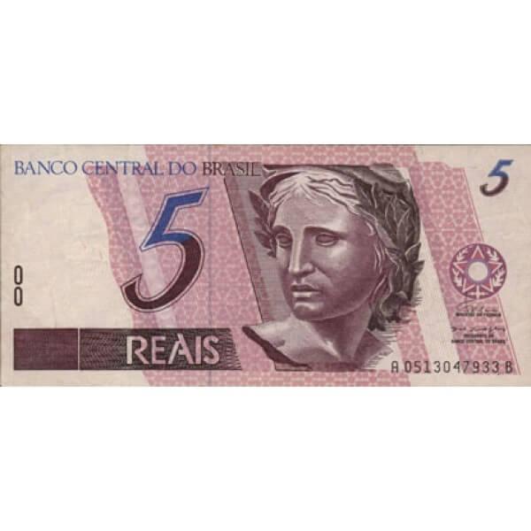 1994/1997 - Brasil P244a billete de 5 Reais