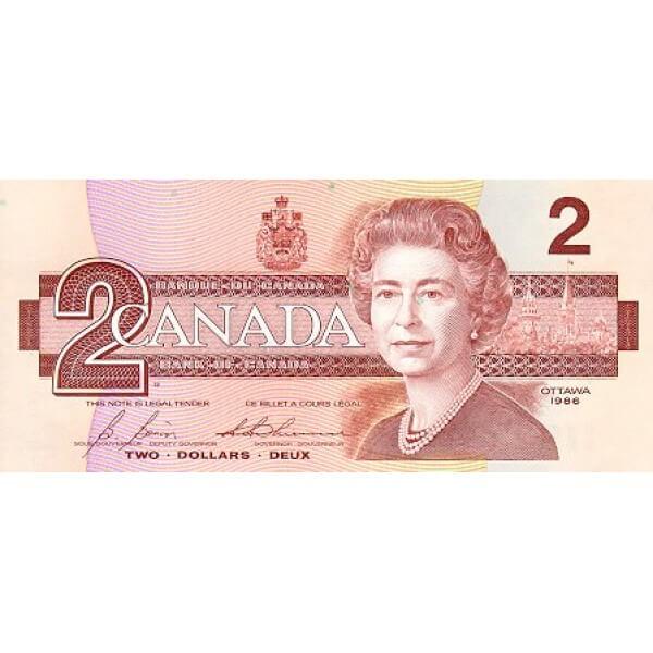 1986 - Canadá P94b Billete de 2 dólares