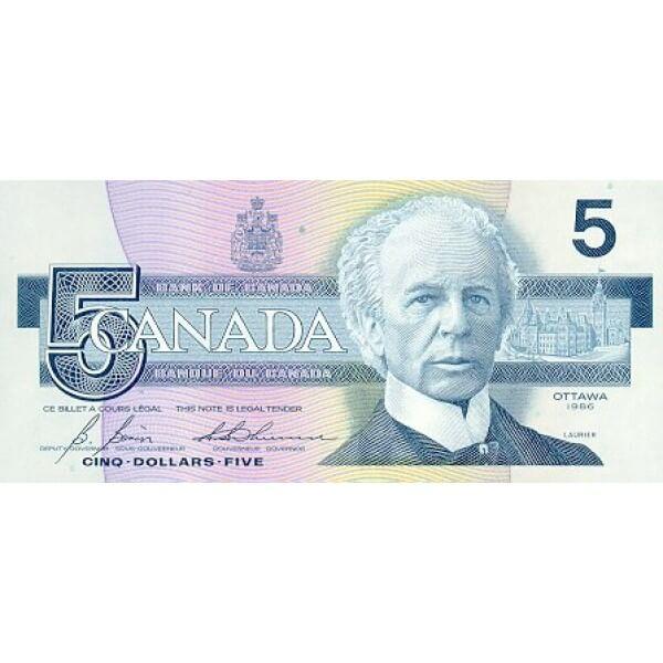 1986 - Canadá P95b Billete de 5 dólares