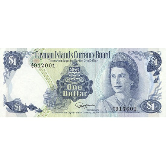 1985 - Cayman Islands P5f 1 Dollar banknote