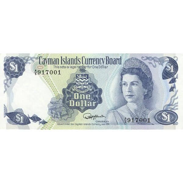 1985 - Caiman Islas P5f billete de 1 Dólar