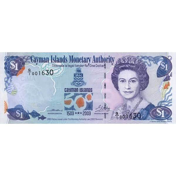 2003 - Caimán Islas P30a billete de 1 Dólar