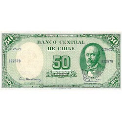 1960/1961 - Chile P126b 5 cents. on 50 pesos banknote