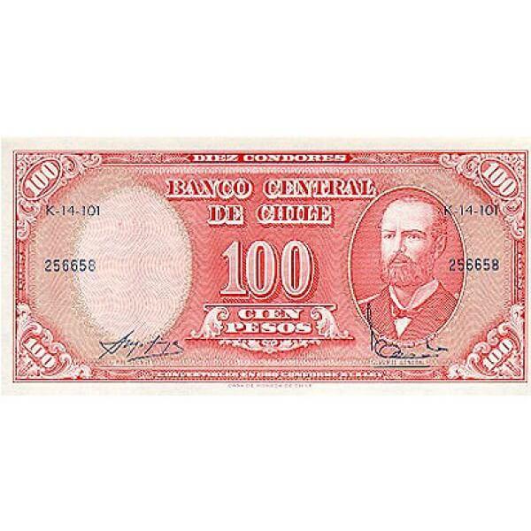 1960/1961 - Chile Pic 127a 10 centésimos de escudo en 100 pesos