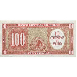 1960/1961 - Chile Pic 127a 10 Cents. of escudo on 100 pesos