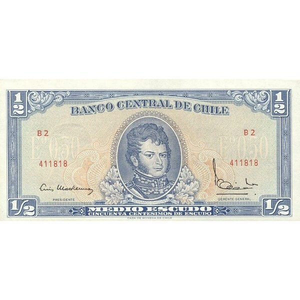1962/1975 - Chile P134Aa billete de 1/2 Escudo