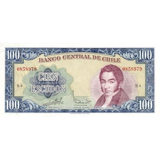 1962/1975 - Chile P141 100 Escudos banknote