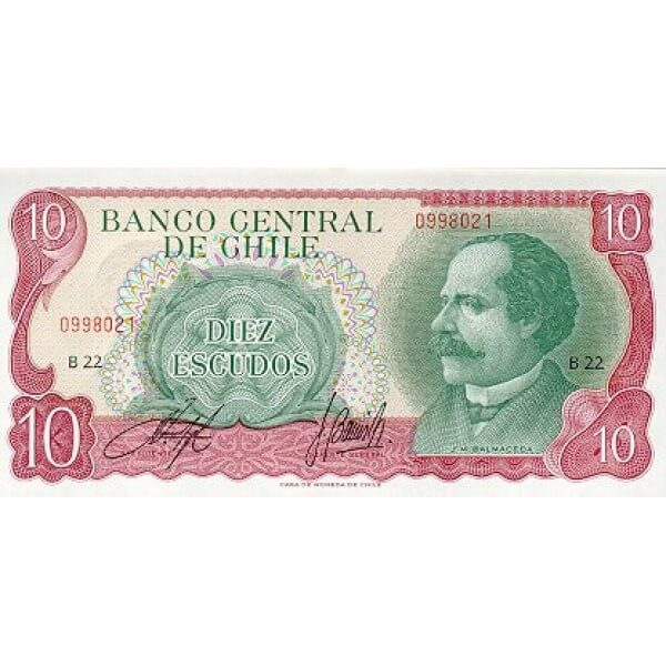 1976 - Chile P142A billete de 10 Escudos
