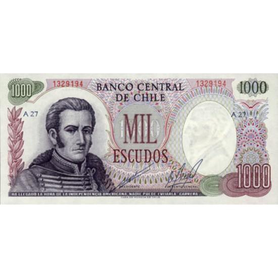 1973 - Chile P146 1,000 escudos  banknote