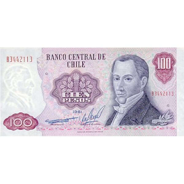 1984 - Chile P152b billete de 100 Pesos