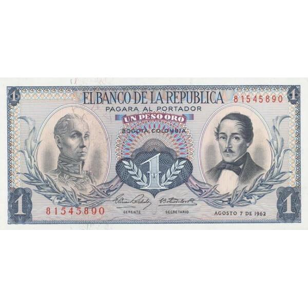 1963 - Colombia P404b 1 Peso Oro banknote