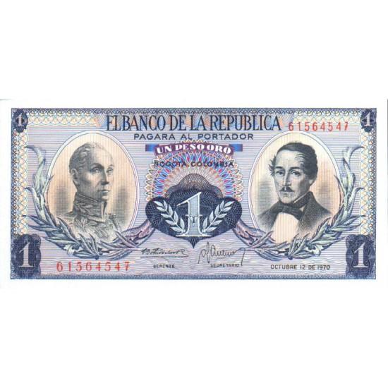 1973 - Colombia P404e 1 Peso Oro banknote