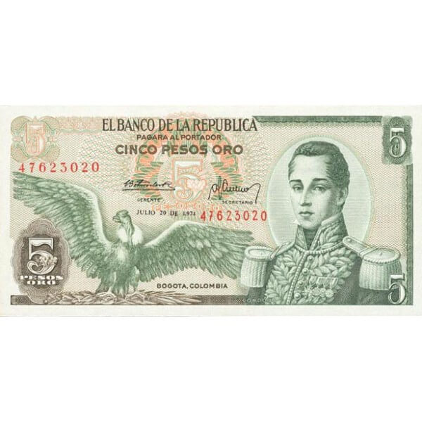 1977 - Colombia P406e billete de 5 Pesos Oro