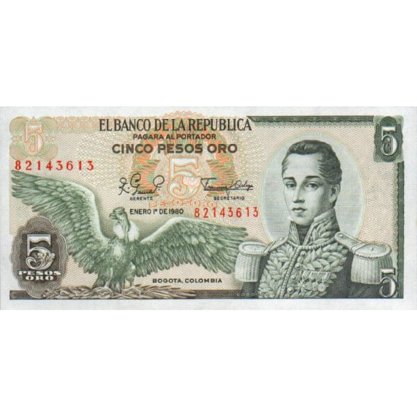 1980 - Colombia P406f billete de 5 Pesos Oro