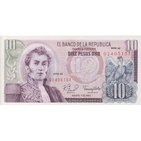 1980 - Colombia P407h billete de 10 Pesos Oro