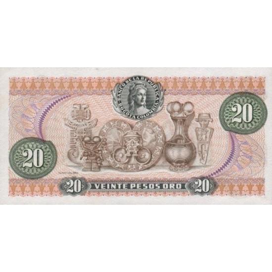 1983 - Colombia P409d 20 Pesos Oro banknote