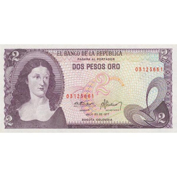 1977 - Colombia P413b billete de 2 Pesos Oro