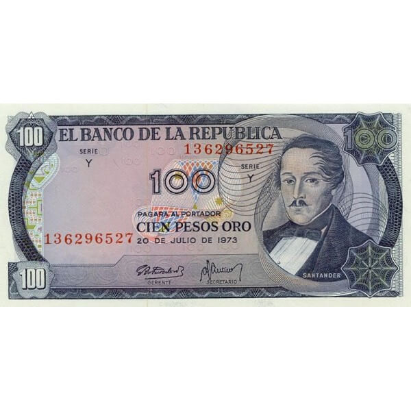 1974 - Colombia  P415 billete de 100 Pesos Oro