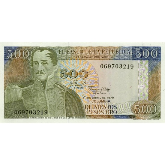 1979 - Colombia P420b 500 Pesos Oro banknote