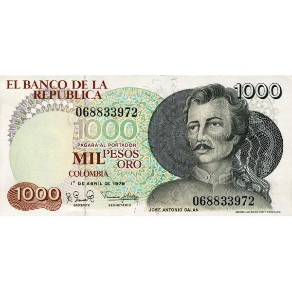 1979 - Colombia P421a billete de 1.000 Pesos Oro