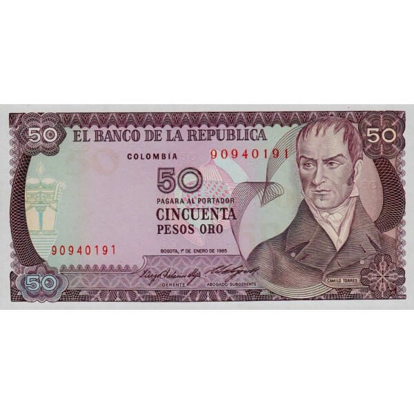1986 - Colombia P425b billete de 50 Pesos Oro