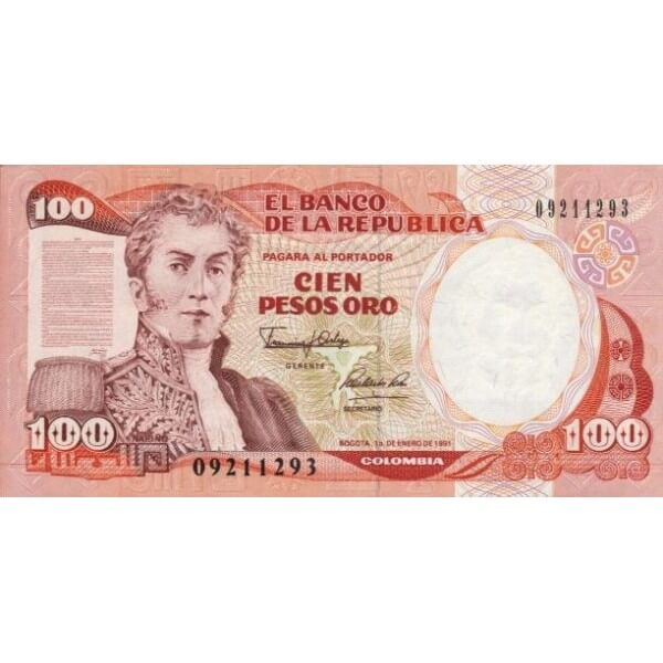 1990 - Colombia P426e billete de 100 Pesos Oro