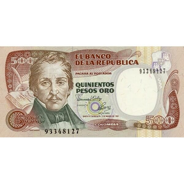 1992 - Colombia P431A 500 Pesos Oro banknote