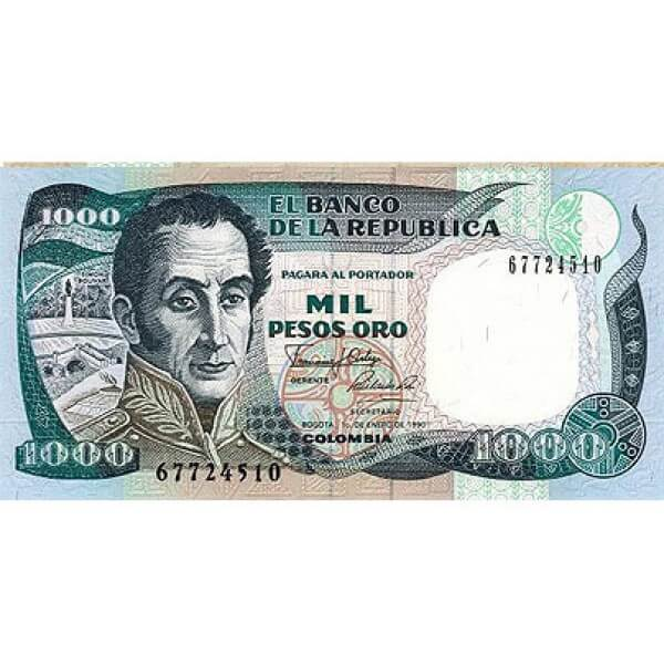 1990 - Colombia  P432 billete de 1.000 Pesos Oro