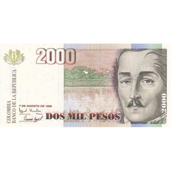 1997/1998 - Colombia  P445d 2,000 Pesos banknote