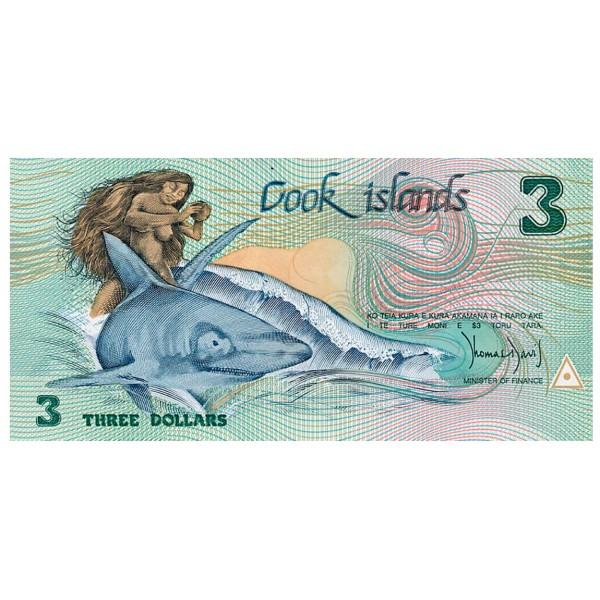 1987 - Islas Cook  P3 billete de 3 dólares