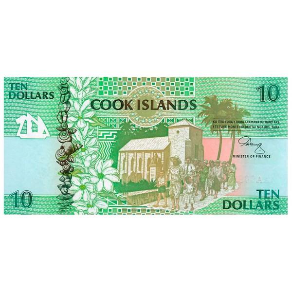 1992 - Islas Cook P8 billete de 10 Dólares