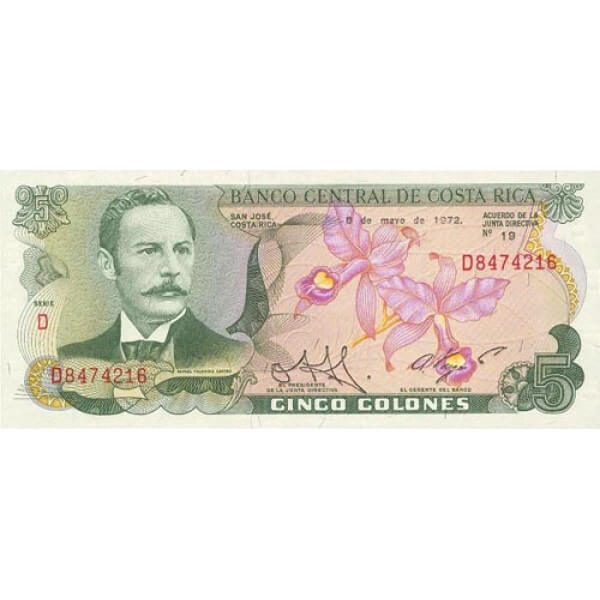 1989 - Costa Rica P236d billete de 5 Colones