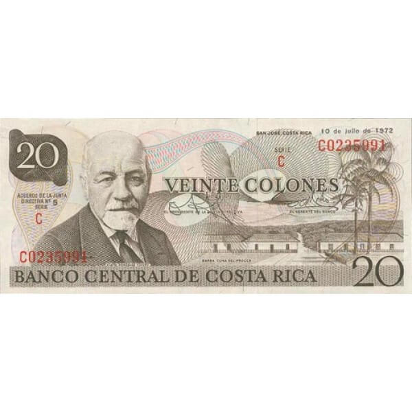 1978 - Costa Rica P238c billete de 20 Colones