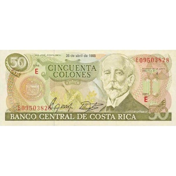 1988 - Costa Rica P253 billete de 50 Colones