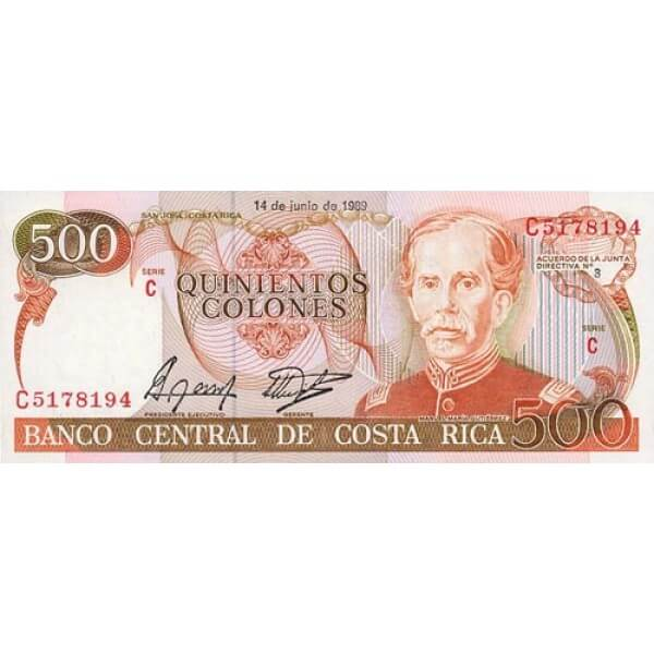 1987 - Costa Rica P255 billete de 500 Colones
