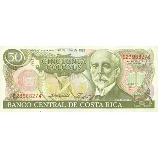 1991 - Costa Rica P257 billete de 50 Colones