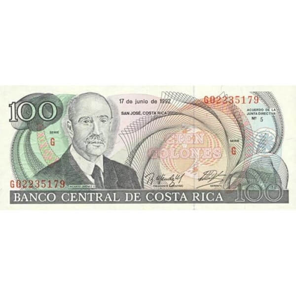1992 - Costa Rica P258 billete de 100 Colones