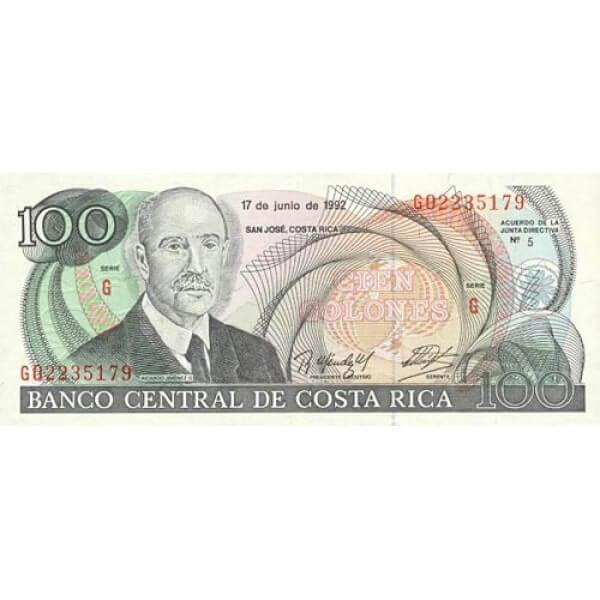 1992 - Costa Rica P258 100 Colones banknote