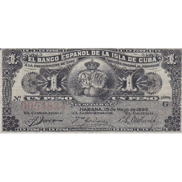 1896  - Cuba P47 1 Peso banknote