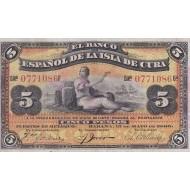 1896 - Cuba P48b 5 Pesos  banknote