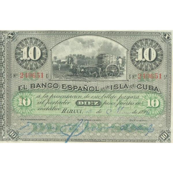 1896 - Cuba Pic 49   billete de 10 Pesos (EBC)