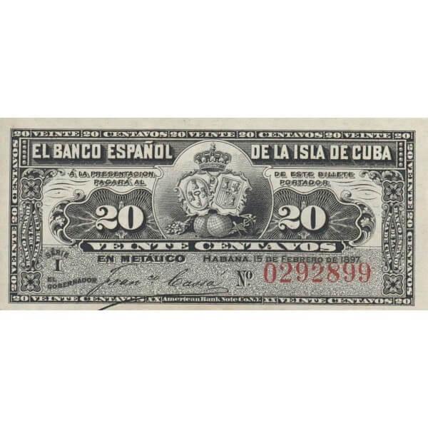 1897 - Cuba P53 20 Centavos banknote